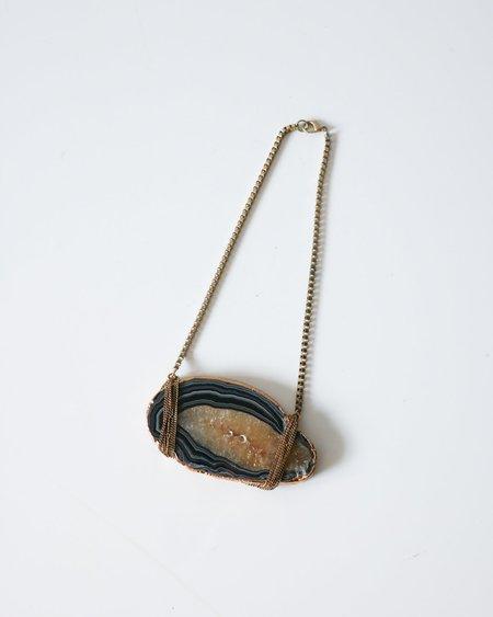 Vintage Geode Druzy Necklace - Blue/Gold