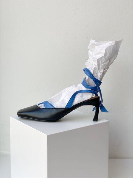 Reike Nen Square Toe Strap Sandals - Black/Blue