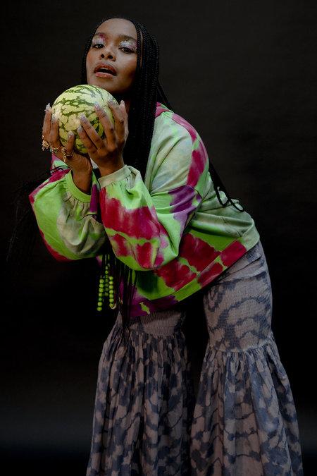 Abacaxi Sandía Balloon Sleeve Hoodie - Green/Pink/Purple