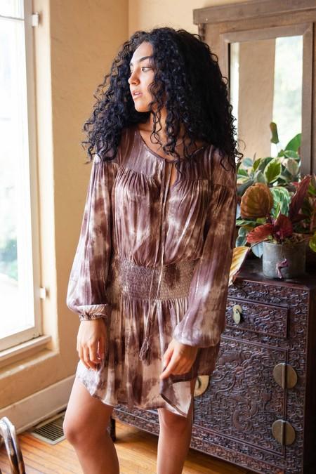 Millibon Lurex Tie Dye Smocked Dress - Brown