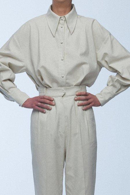 baaby Oversized Pleat Sleeve Shirt - Eggshell