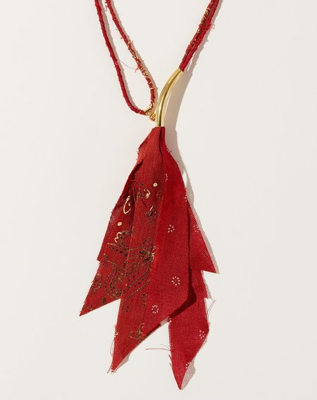 Kapital Fabric Necklace - Red/Gold Print