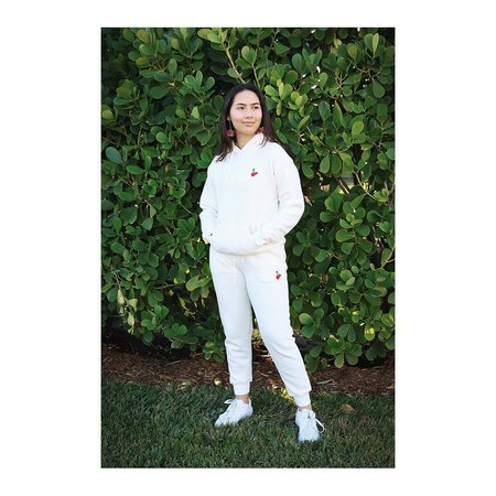 HVN Embroidered Cherry Hoodie - White