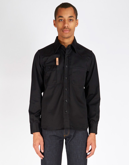 Men's Tellason Topper Shirt Black Japanese Twill
