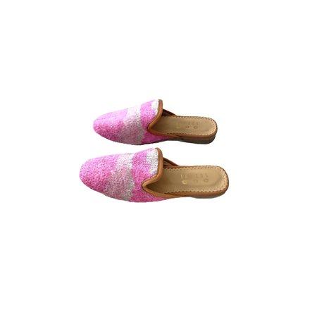 Suzani Designs Velvet Ikat Mules - Pink
