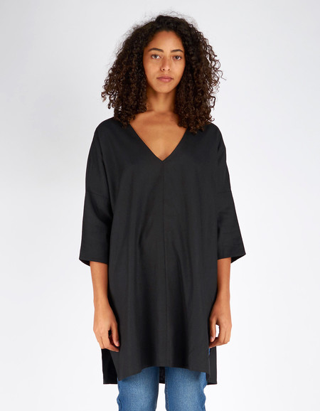 Ali Golden Raw Silk Kimono Tunic Black