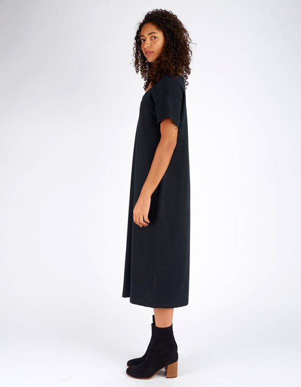 Ali Golden Roll Sleeve T-Shirt Dress Black