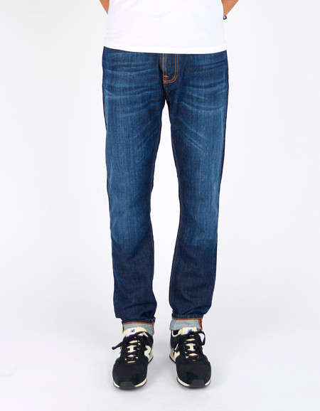 Men's Nudie Brute Knut Blue Swede Washed Indigo