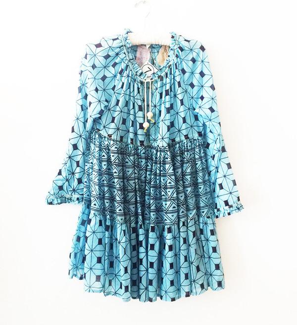 Yvonne S Mini Hippy Dress - Blue Triangle