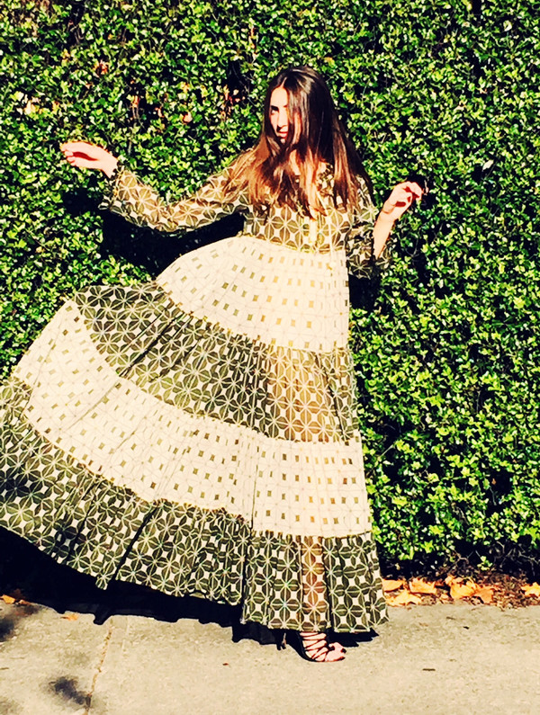 Yvonne S Sheer Maxi Hippy Dress - Khaki Green Block