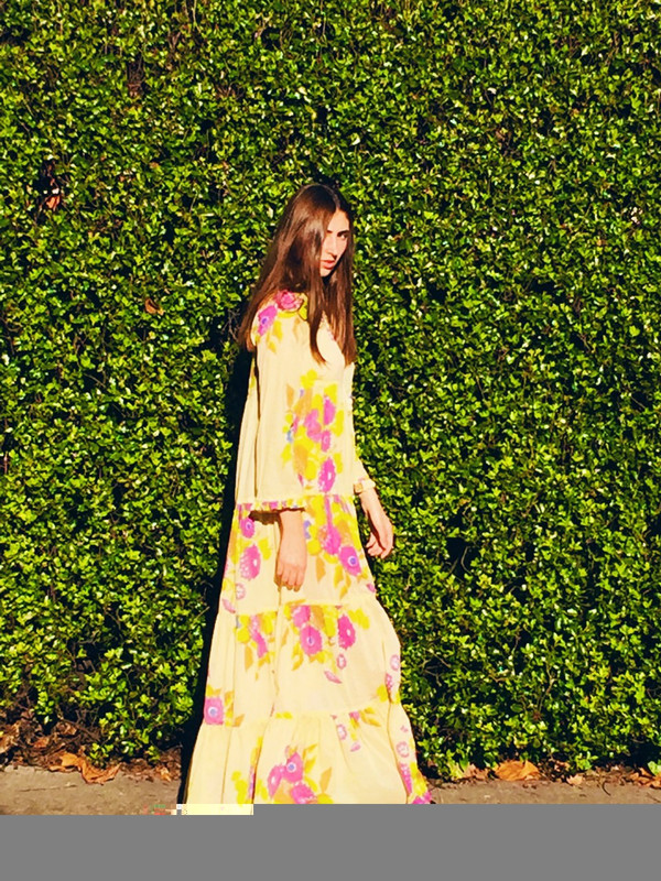 Yvonne S Sheer Maxi Hippy Dress - Yellow with Big Flowers
