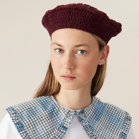 Ganni Cotton Knit Beret - Port