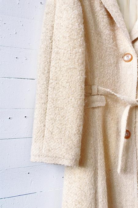 Vintage Louis Feraud Paris Wool Boucle Coat - off white