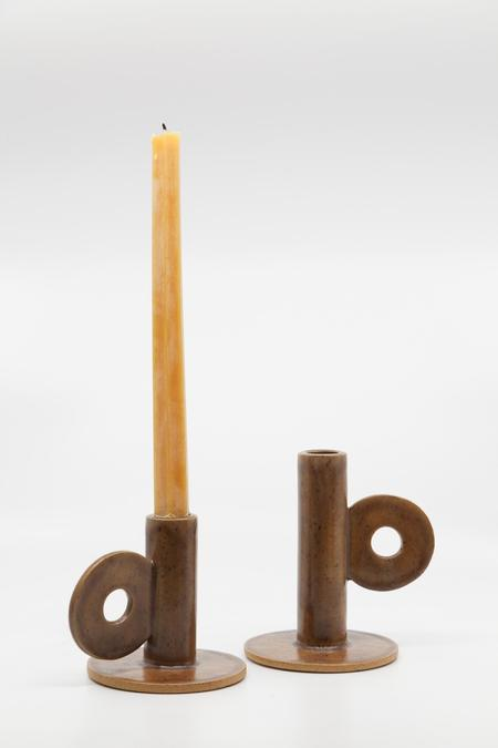 Gravel & Gold Candle Holder - Walnut