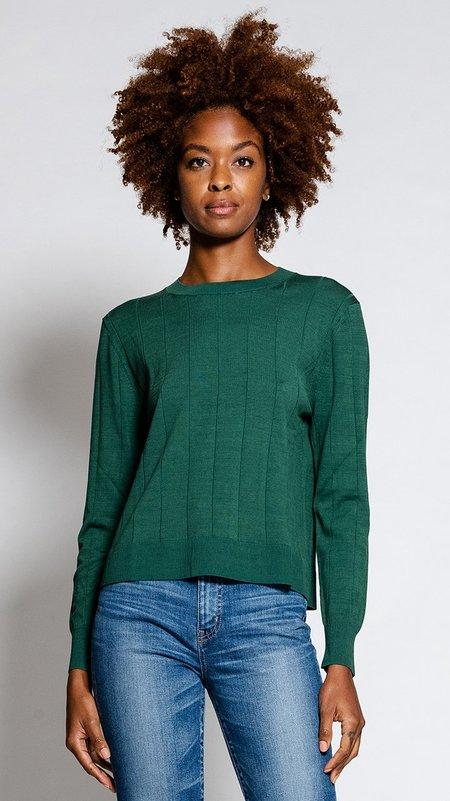 Rachel Comey Baylis Top - Forest Green Silk Pinstripe