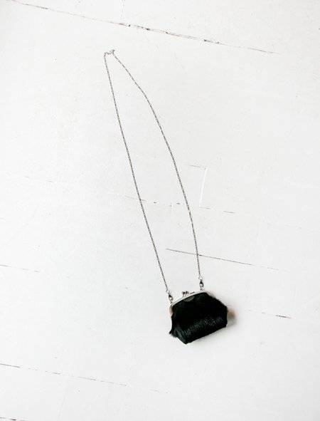 Y's by Yohji Yamamoto Mini Squared Purse Hairy Necklace - leather