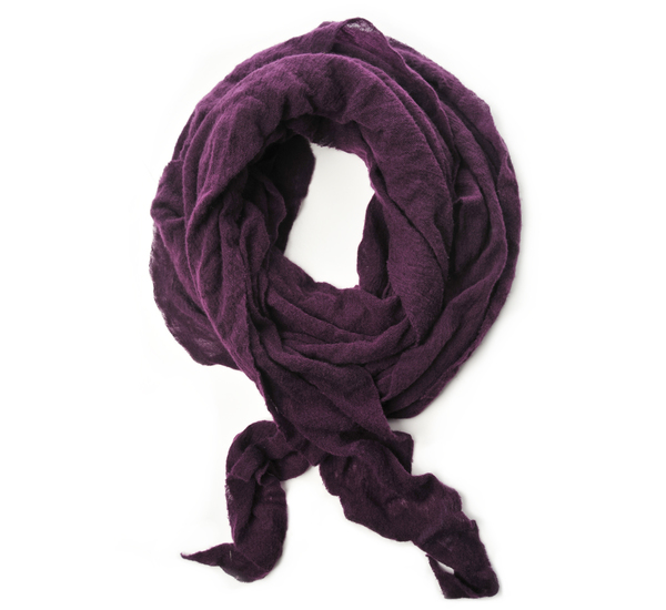 Botto Giuseppe Eggplant Diamond Shaped Cashmere Scarf
