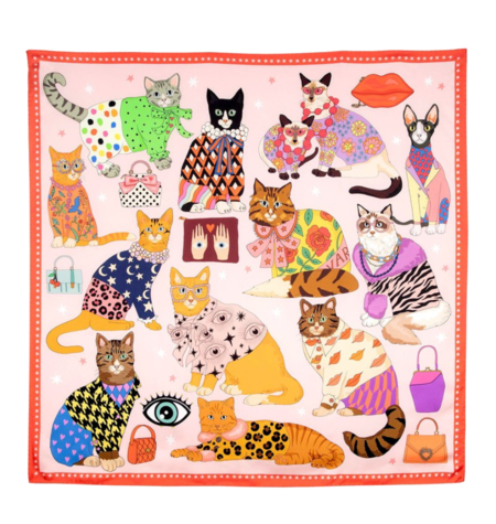 Karen Mabon Fashion Cats Silk Scarf - Pink