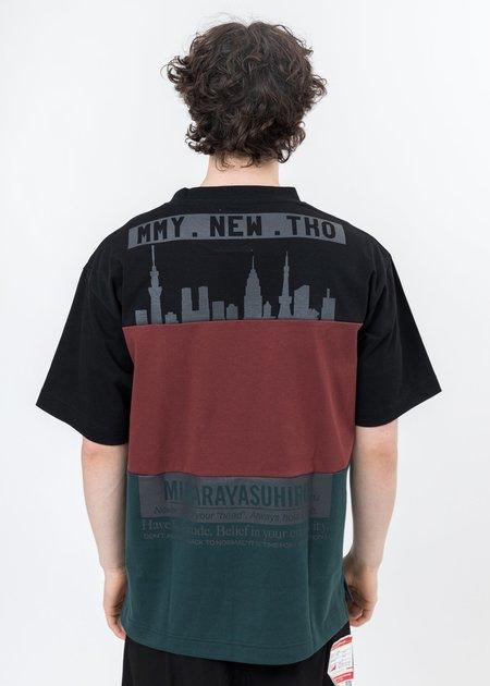Mihara Yasuhiro Border Docking T-Shirt - Black