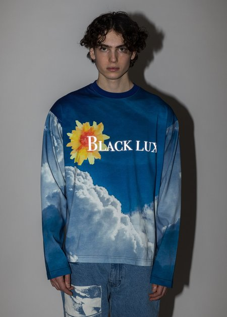 Black Lux Long Sleeves - Blue Cloud Print