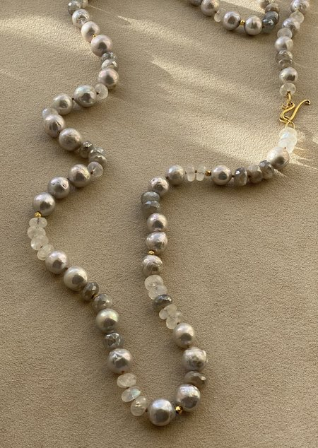 Lena Skadegard Pearl Necklace - Grey/Silverite