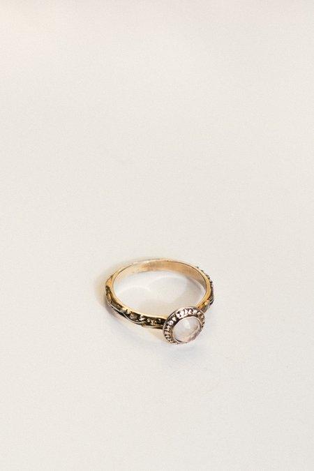Angela Monaco Matrix Halo Bezel Ring with Rose Quartz - gold vermeil