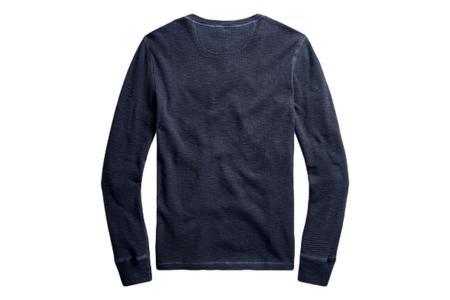 RRL Waffle-Knit Henley Shirt - Navy