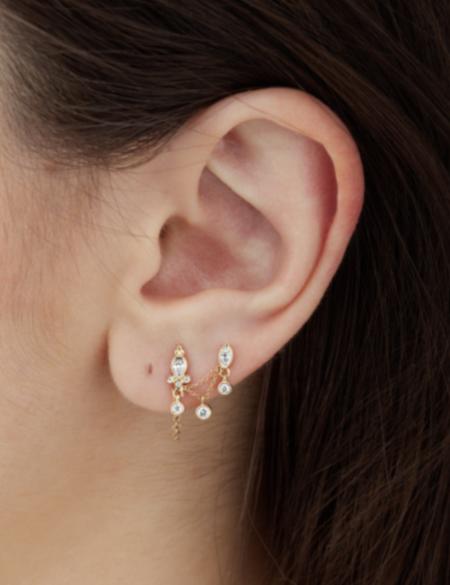 maria tash Diamond Delia and Marquise Dangle Chain Orbital earrings - Gold