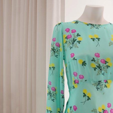 BERNADETTE Jane L/S Dress - Floral Turquoise
