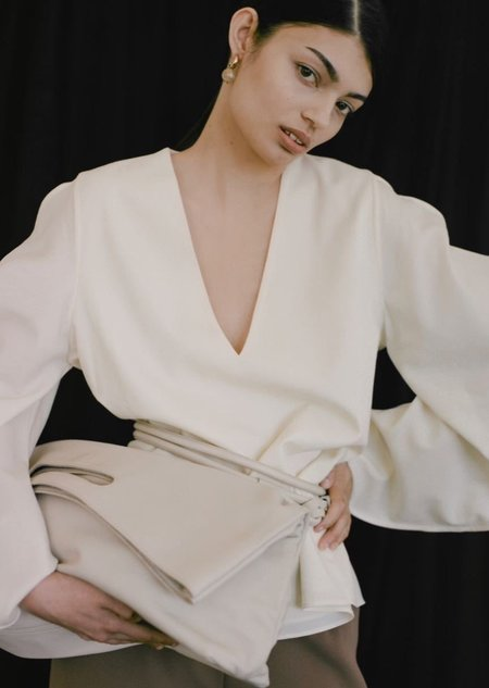 Modern Weaving Slouch Foldover Clutch - Creme