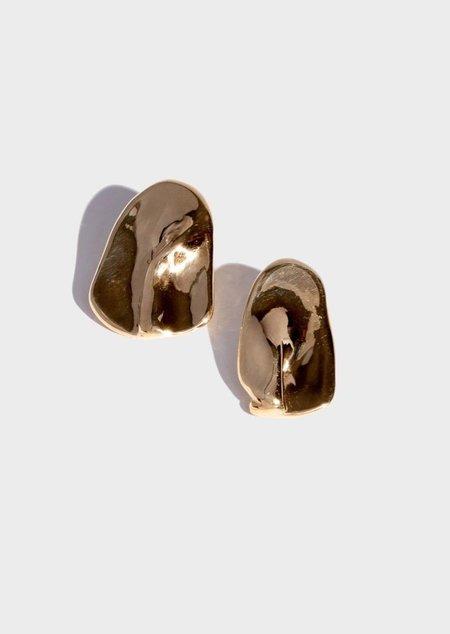 Modern Weaving Form Earrings - Brass