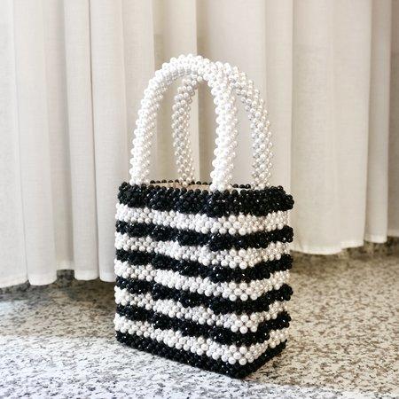 Antonia Beaded Bag - Black/Cream