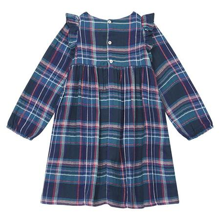 KIDS Bonton Child Sunny Dress - Turquoise Blue Plaid