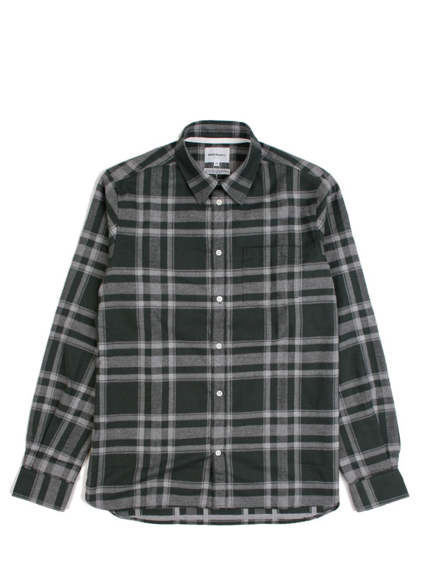 Men's Norse Projects Hans Brushed Check - Capital Green