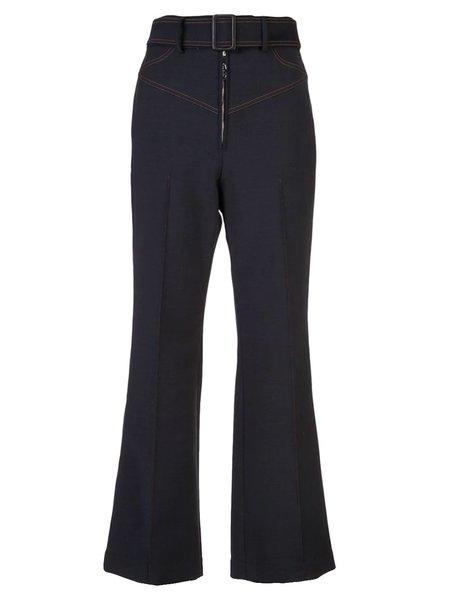 Ellery Flared Belted Trousers - Dark Blue