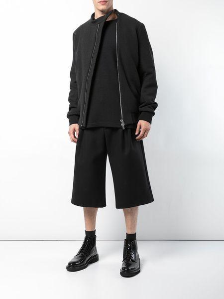 THAMANYAH iStretch Graphite Wool Short Bomber - black