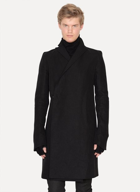 Y/project Linen Double Breasted Frock Coat - Black