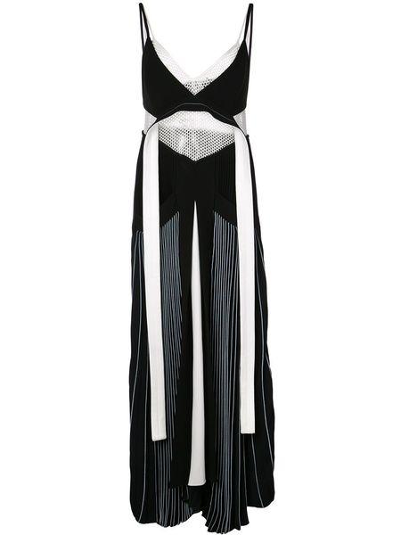 Proenza Schouler Pleated Cady Sleeveless Maxi Dress - Black/White
