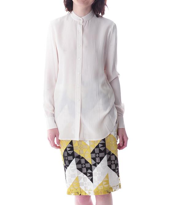 FRAME Denim Le Tunic Shirt in Blush Stripe