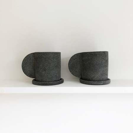 Brutes ceramics Mug + Saucer - dark gray