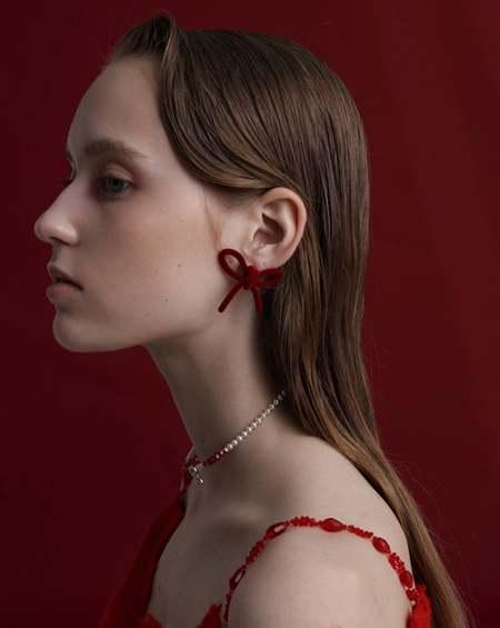 YVMIN Velvet Bow Earrings - Red