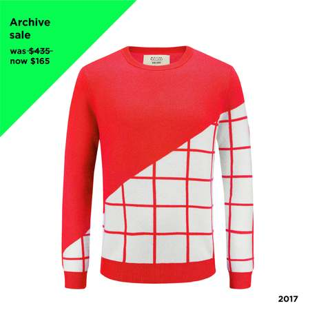UNISEX MATTER MATTERS Grids Crew Neck Wool and Cashmere-Blend Pullover - RED