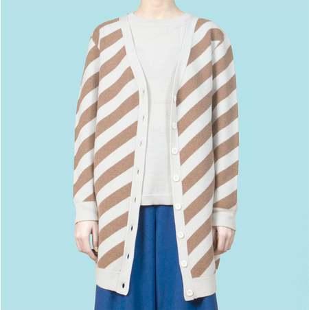 Unisex MATTER MATTERS V Neck Wool Blend Long Cardigan - Sand