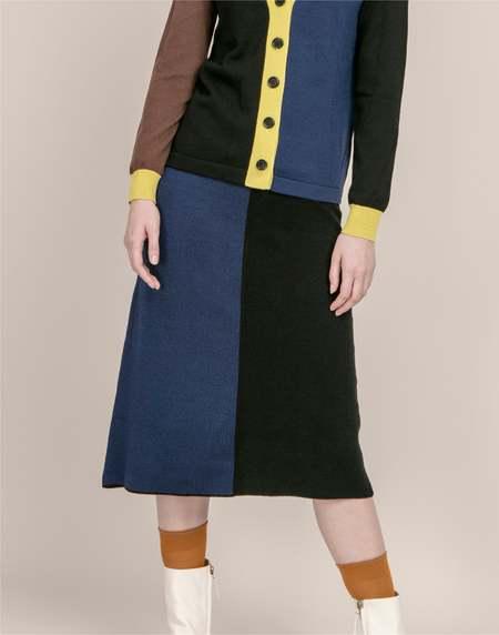 MATTER MATTERS Colourblock knit skirt - Black/Navy
