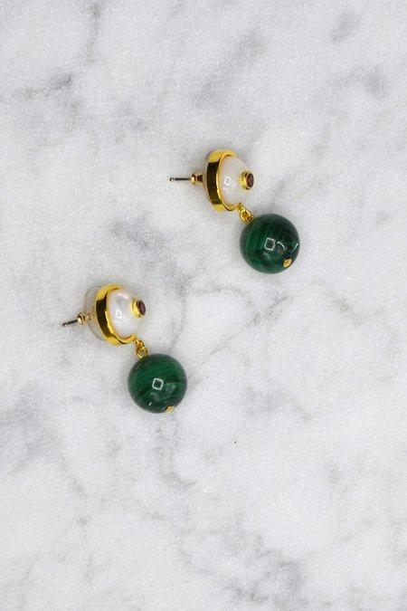 Lizzie Fortunato Yolo Earrings - Malachite