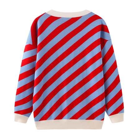 Unisex MATTER MATTERS V Neck Merino Wool Cardigan - Red/Light Blue