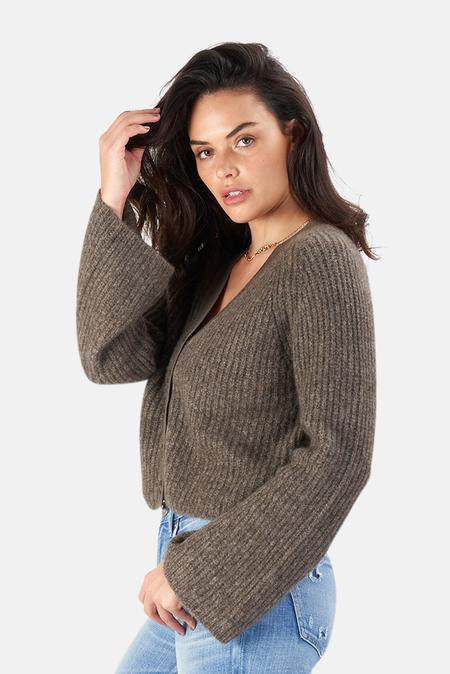 Naadam Wide Sleeve Raglan Cardigan Sweater - Stone Grey