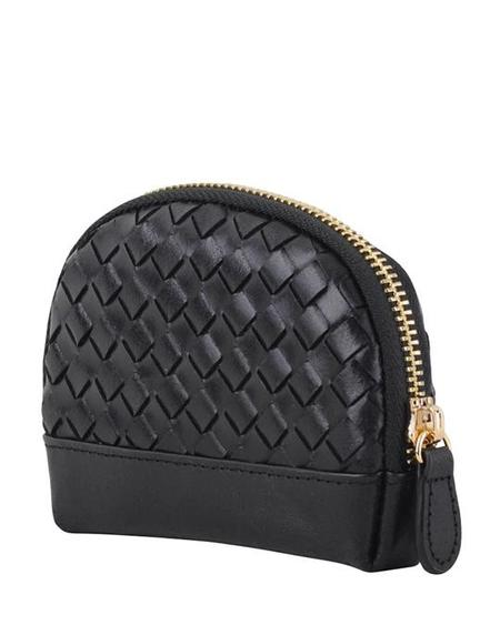 MW Braided Leather Mini Pouch - Black