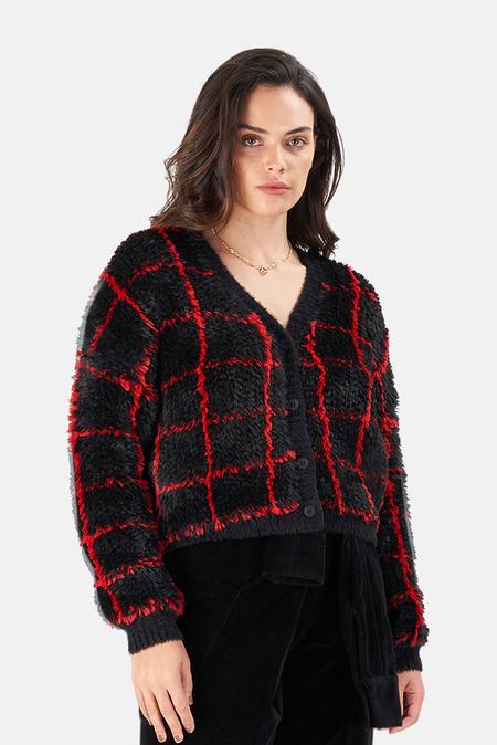 RTA Ella Cardigan - Black/Red Grid