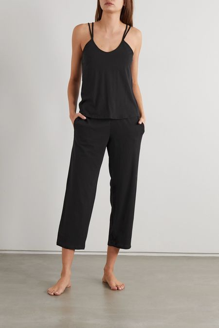 Skin Calista Double Strap Cami and Pants - black